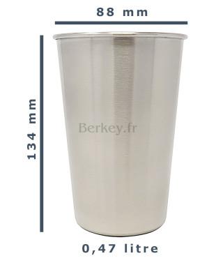 Gobelet BERKEY en inox - Tumbler : Dimensions et contenance  (Réf. : BREKYTUMBLE16OZ).