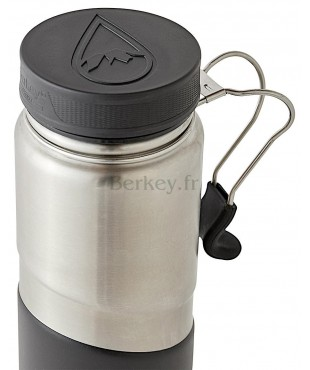 GOURDE BERKEY ISOTHERME EN INOX : 0,76 litres -  Couleur noire - Vue de dessus - Marque BERKEY.