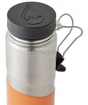 GOURDE BERKEY ISOTHERME EN INOX : 0,76 litres -  Couleur orange - Vue de dessus - Marque BERKEY.