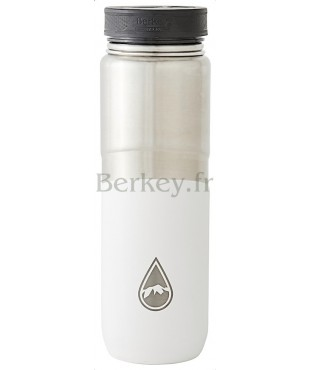 GOURDE BERKEY ISOTHERME EN INOX - 0,76 litres -  Couleur blanche - Berkey Lookout Bootle (Réf. : SSBOT26WHTSTD).