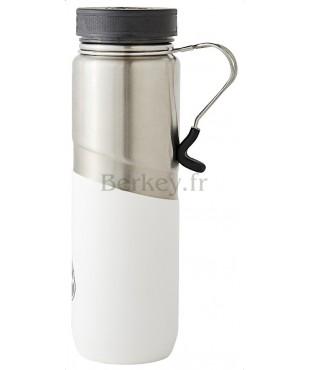 GOURDE BERKEY ISOTHERME EN INOX : 0,76 litres -  Couleur blanche - Vue de côté avec poignée clip - Marque BERKEY.